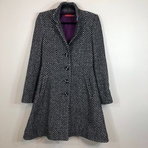 Alice+Olivia Wool Blend Black/White Dotted PeaCoat